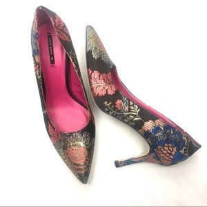 ZARA Black Satin Multi Color Floral Point Toe Pump